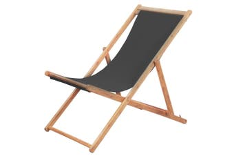 Folding Beach Chair Fabric and Wooden Frame Grey