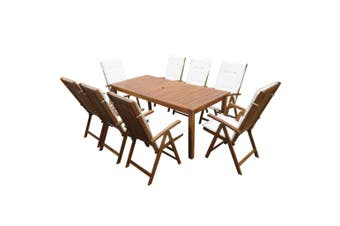 9 Piece Outdoor Dining Set with Cushions Solid Acacia Wood