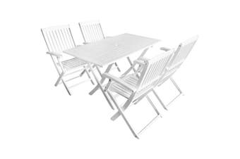 5 Piece Outdoor Dining Set Solid Acacia Wood White