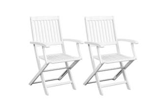 Dining Chairs 2 pcs White Solid Acacia Wood