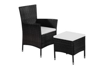 Outdoor Chair and Stool with Cushions Poly Rattan Black