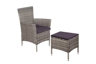 Outdoor Chair and Stool with Cushions Poly Rattan Grey