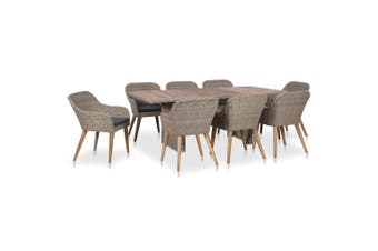 9 Piece Outdoor Dining Set with Cushions Poly Rattan
