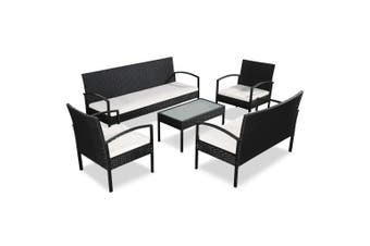 5 Piece Garden Lounge Set with Cushions Poly Rattan Black