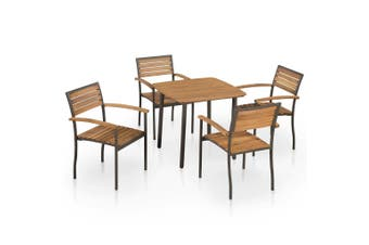 5 Piece Outdoor Dining Set Solid Acacia Wood and Steel