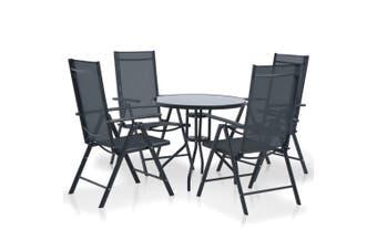 5 Piece Outdoor Dining Set Aluminium and Textilene Black