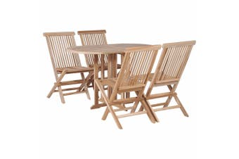 5 Piece Folding Outdoor Dining Set Solid Teak Wood