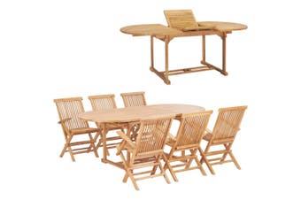 7 Piece Outdoor Dining Set 150-200x100x75 cm Solid Teak Wood