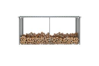Garden Log Storage Shed Galvanised Steel 330x92x153 cm Grey