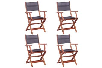 Outdoor Chairs 4 pcs Grey Solid Eucalyptus Wood and Textilene
