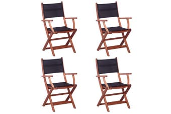 Outdoor Chairs 4 pcs Black Solid Eucalyptus Wood and Textilene