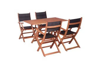 5 Piece Outdoor Dining Set Solid Eucalyptus Wood and Textilene