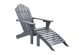 Garden Chair with Ottoman Wood Grey