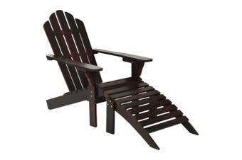 Garden Chair with Ottoman Wood Brown