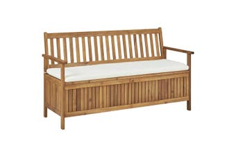 Storage Bench with Cushion 148 cm Solid Acacia Wood
