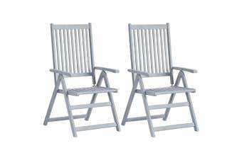 Garden Reclining Chairs 2 pcs Grey Solid Acacia Wood