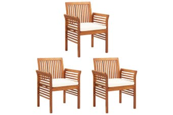 Garden Dining Chairs with Cushions 3 pcs Solid Acacia Wood