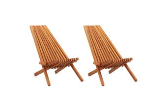 Folding Outdoor Lounge Chairs 2 pcs Solid Acacia Wood