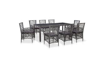 9 Piece Outdoor Dining Set Poly Rattan Grey
