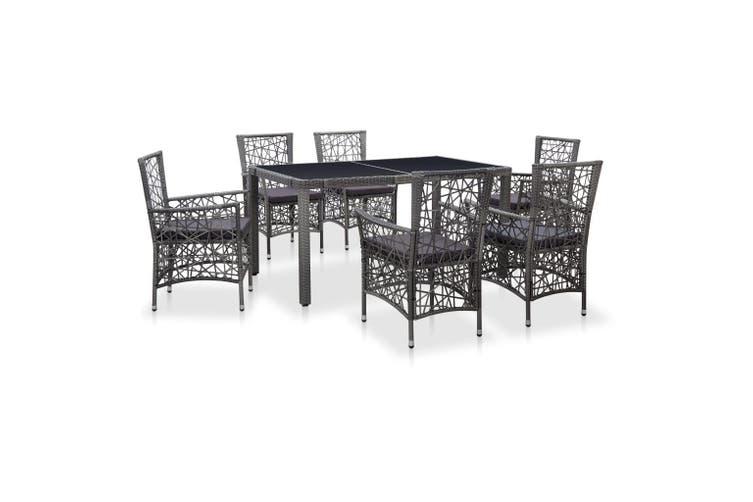 7 Piece Outdoor Dining Set Poly Rattan Grey