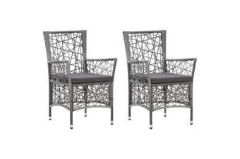 Outdoor Chairs 2 pcs with Cushions Poly Rattan Grey