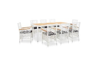 9 Piece Outdoor Dining Set Poly Rattan White