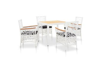 5 Piece Outdoor Dining Set Poly Rattan White