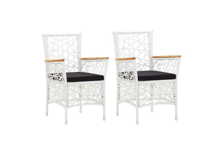 Outdoor Chairs 2 pcs with Cushions Poly Rattan White
