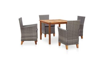 5 Piece Dining Set Poly Rattan and Solid Acacia Wood Grey