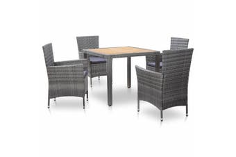 5 Piece Outdoor Dining Set with Cushions Poly Rattan Grey