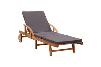 Sun Lounger with Cushion Solid Acacia Wood
