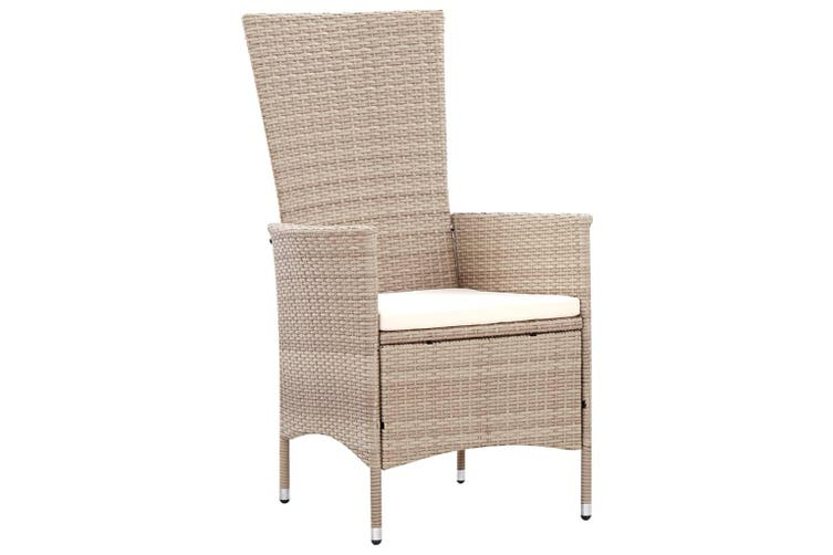 7 Piece Outdoor Dining Set with Cushions Poly Rattan Beige