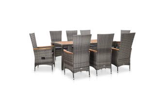 9 Piece Outdoor Dining Set with Cushions Poly Rattan Grey