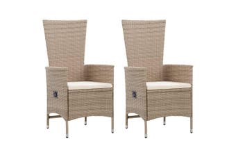 Outdoor Chairs 2 pcs with Cushions Poly Rattan Beige