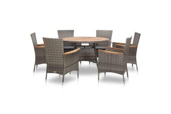 7 Piece Outdoor Dining Set Poly Rattan Acacia Wood Grey