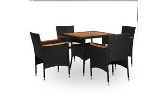 5 Piece Outdoor Dining Set Black Poly Rattan and Acacia Wood