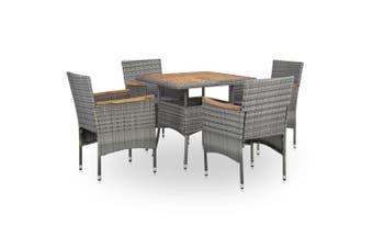 5 Piece Outdoor Dining Set Grey Poly Rattan and Acacia Wood