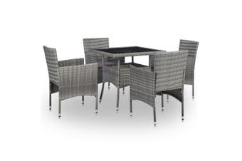 5 Piece Outdoor Dining Set Grey Poly Rattan and Glass