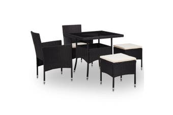 5 Piece Outdoor Dining Set Black Poly Rattan and Glass
