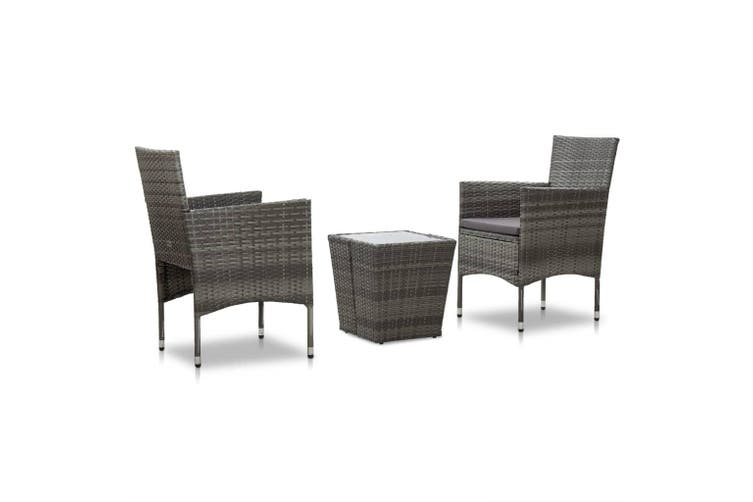 3 Piece Bistro Set Poly Rattan and Tempered Glass Grey