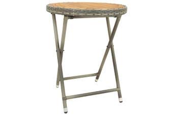 Tea Table Grey 60 cm Poly Rattan and Solid Acacia Wood