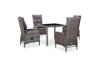 5 Piece Outdoor Dining Set Poly Rattan and Tempered Glass Grey