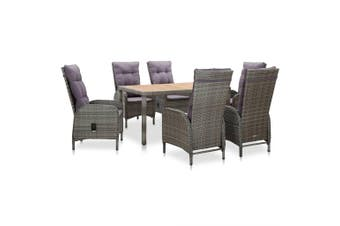 7 Piece Outdoor Dining Set Poly Rattan and Acacia Wood Grey