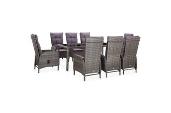 9 Piece Outdoor Dining Set Poly Rattan and Tempered Glass Grey
