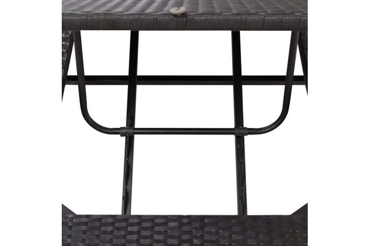 Sunbed with Cushion Black Poly Rattan