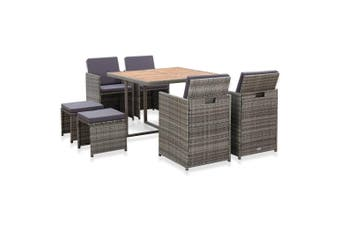9 Piece Outdoor Dining Set Poly Rattan and Acacia Wood Anthracite