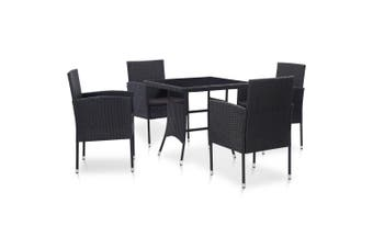 5 Piece Outdoor Dining Set Poly Rattan Black
