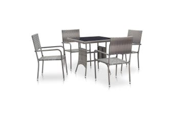 5 Piece Outdoor Dining Set Poly Rattan Anthracite