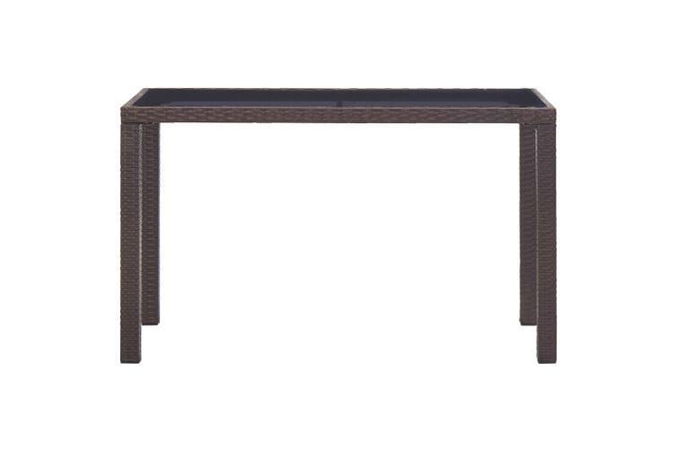 Garden Table Brown 123x60x74 cm Poly Rattan