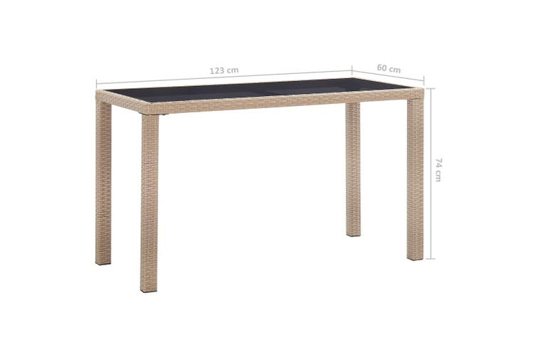 Garden Table Beige 123x60x74 cm Poly Rattan